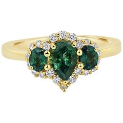 Alexandrite Diamond Halo Gold Three-Stone Ring