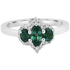 Alexandrite Diamond Halo Three-Stone Bridal Fashion Cocktail Gold Ring