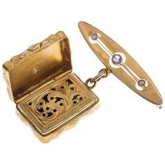 Antique Silver Gilt & 9ct Yellow Gold Amethyst & Split Pearl Snuff Locket Brooch