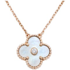 Van Cleef & Arpels Limited Edition Alhambra Mother-of-Pearl and Dia Necklace