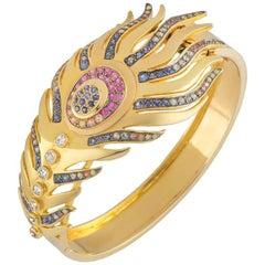 Madhuri Parson Sapphire Peacock Cuff Bracelet
