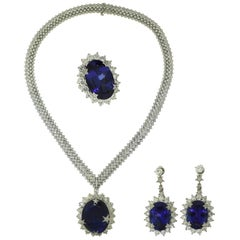 Large Tanzanite and Diamond White Gold Three-Piece Earring, Necklace, Ring Set
