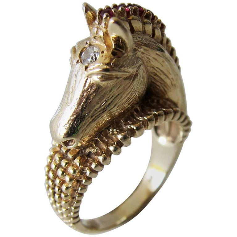 Gold Ruby Diamond Sculptural Horse Head Ring For Sale