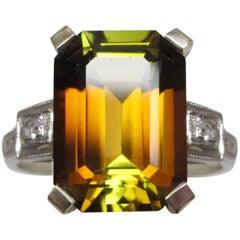 AGL Certified 6.94 Carat Orange Tourmaline Art Deco White Gold Ring