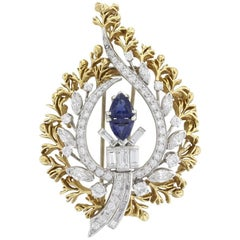 Natural Sapphire and Diamond Vintage Brooch in Gold