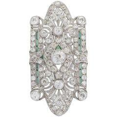 Edwardian Art Deco Platinum Green Emerald and Diamond Brooch