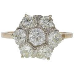 Vintage Platinum and Diamond Cluster Floral Engagement Ring