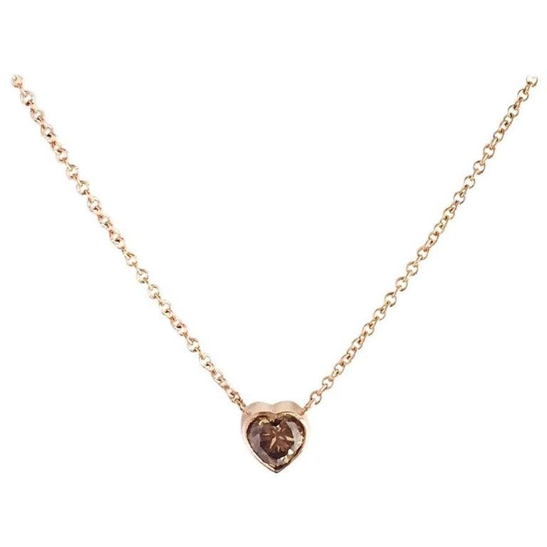 Julius Cohen .95 Carat. Brown Diamond Rose Gold Necklace