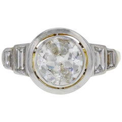 1.73 Carat Old Euro Round Cut Bezel Set Art Deco Style Engagement Ring