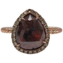 Natural Cognac and Green Diamond Rose Gold Ring