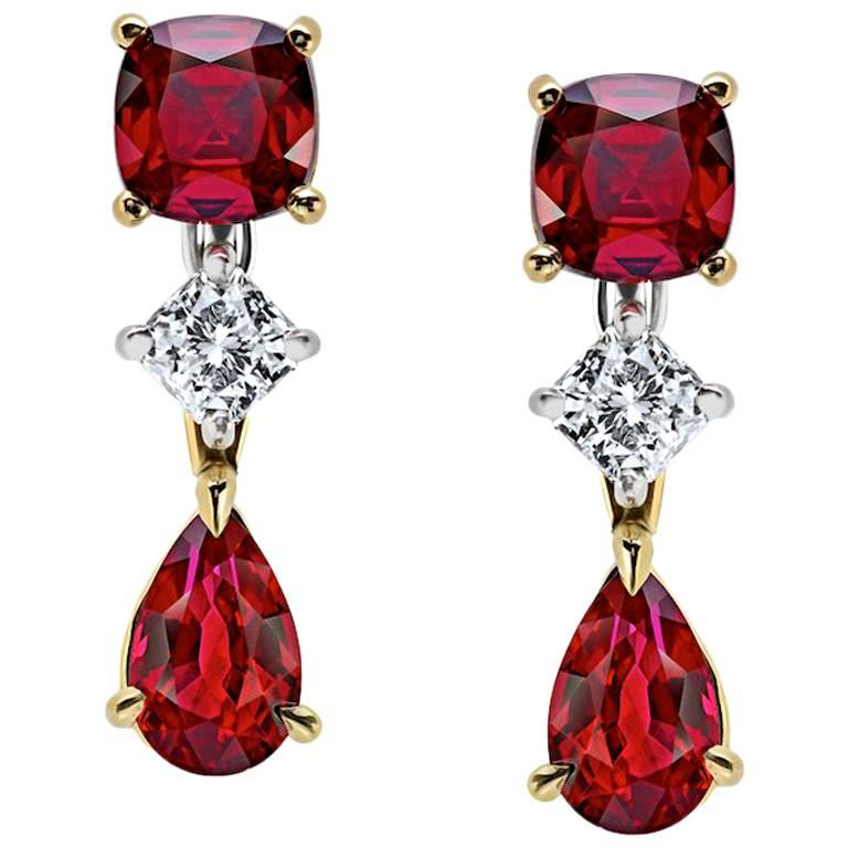 Pear shape and Cushion Cut Ruby and Diamond Drop Earrings