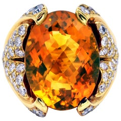 Citrine and Diamond Gold Cocktail Ring