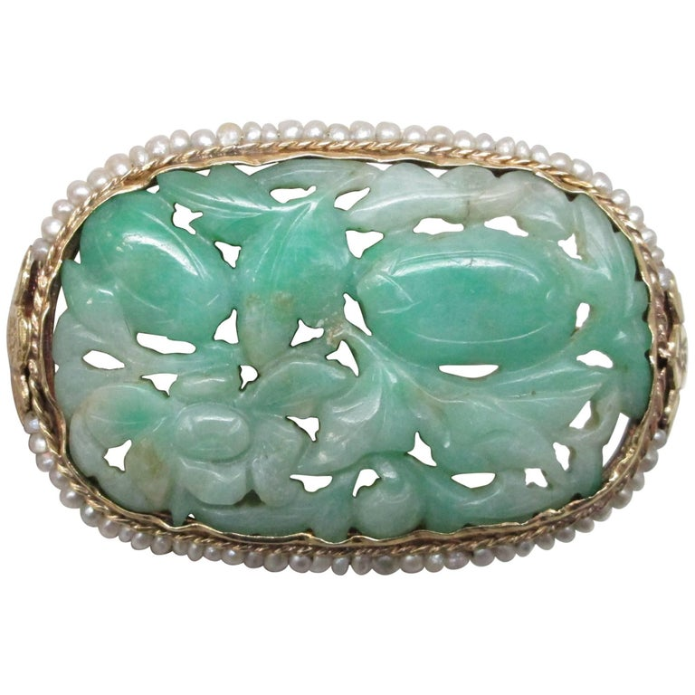 Hand-Carved Jade and Seed Pearl Gold Brooch