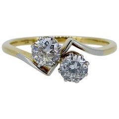 Art Deco Diamond Ring, 0.60 Carat Early Brilliant Cut Two-Stone Twist, 18 Carat