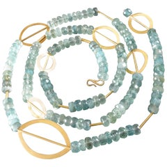 1980s Sabine Strobel Post-Modernist Aquamarine Gold Long Chain Necklace Sautoir