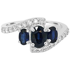 Blue Sapphire Diamond Three-Stone White Gold Ring