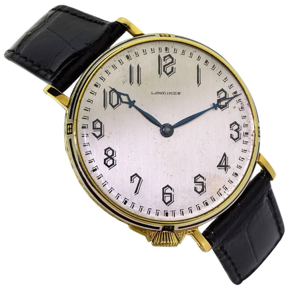 Longines Yellow Gold Enamel Art Deco Oversized Pocket Manual Watch, 1919