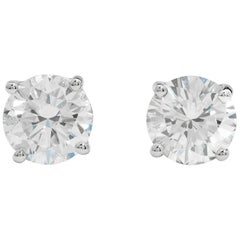 3.00 Carat Round Diamond Stud Earrings