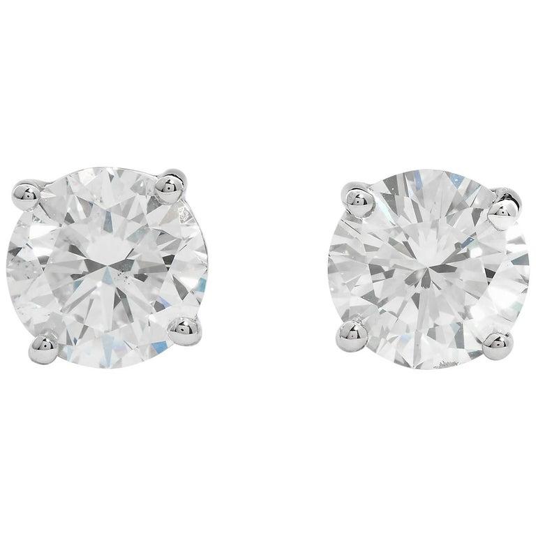 3.00 Carat Round Diamond Stud Earrings