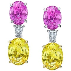15.11 Carat Oval Pink and Yellow Sapphires and Diamond Earrings