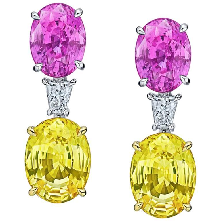 15.11 Carat Oval Pink and Yellow Sapphires and Diamond Earrings For Sale