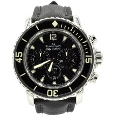 Blancpain Stainless Steel Fifty Fathoms Black Dial Automatic Wristwatch