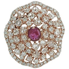 Rose Gold Diamond and Ruby Ring