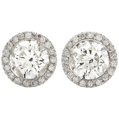 2.70 Carat Round Diamond Halo Stud Earrings