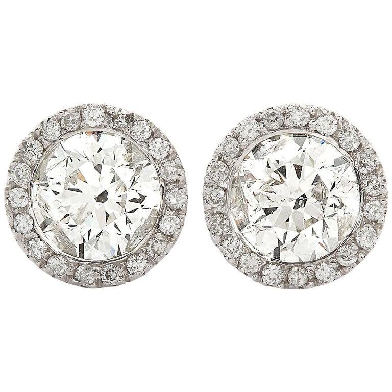 2.70 Carat Round Diamond Halo Stud Earrings