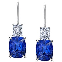 6.80 Carat Blue Cushion Sapphire and Diamond Platinum Drop Earrings