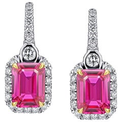 2.76 Carat Pink Natural Sapphire and Diamond Halo Drop Platinum and 18k Earrings