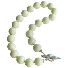 Lemon Magnesite Choker Necklace Abalone Toggle