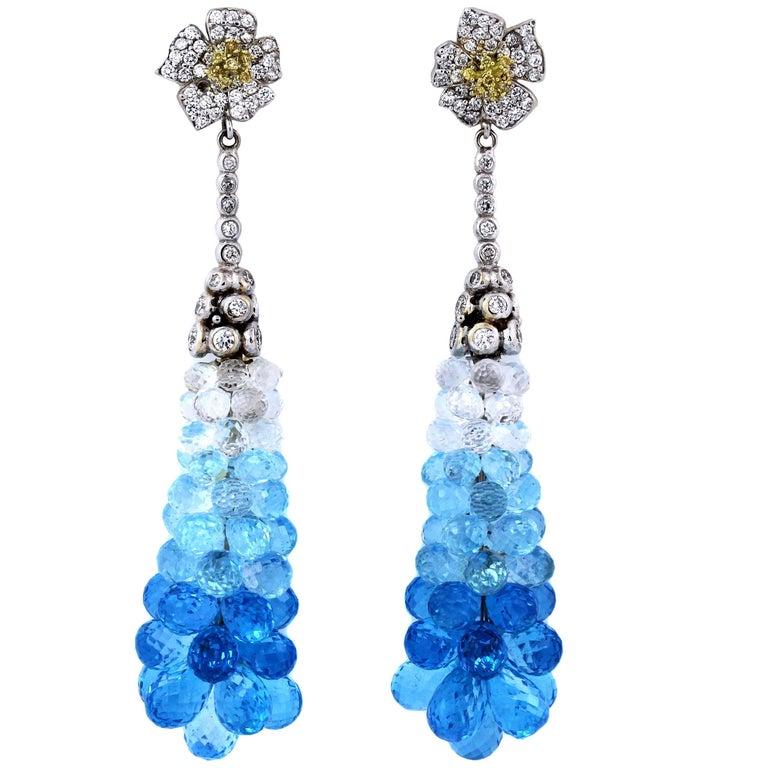 Stambolian Gold Diamond Blue Topaz Drop Earrings