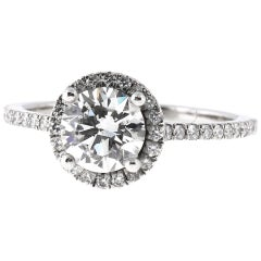 1.02 E-VS2 Round Diamond Engagement Ring in Platinum Diamond Pave Band, GIA Cert