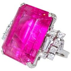 Vivid Pink Tourmaline and Diamond Ring
