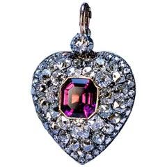 Antique 19th Century Garnet Diamond Heart Locket Pendant