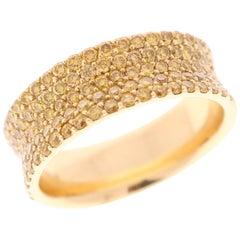 Ladies 14 Karat Natural Yellow Diamonds Band
