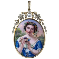 Antique Swiss Painted Enamel Diamond Pearl Gold Pendant