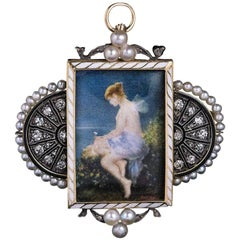 Antique Jugendstil Painted Miniature Diamond Pearl Pendant Brooch