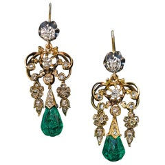 Antique Briolette Cut Emerald Diamond Dangle Earrings