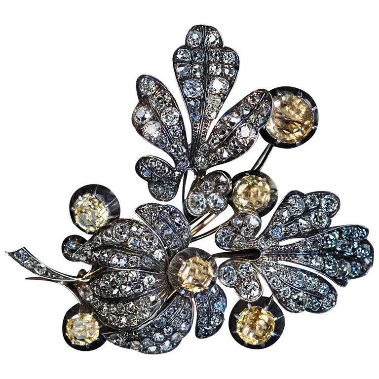 Large Antique Victorian Topaz Diamond Flower Brooch For Sale