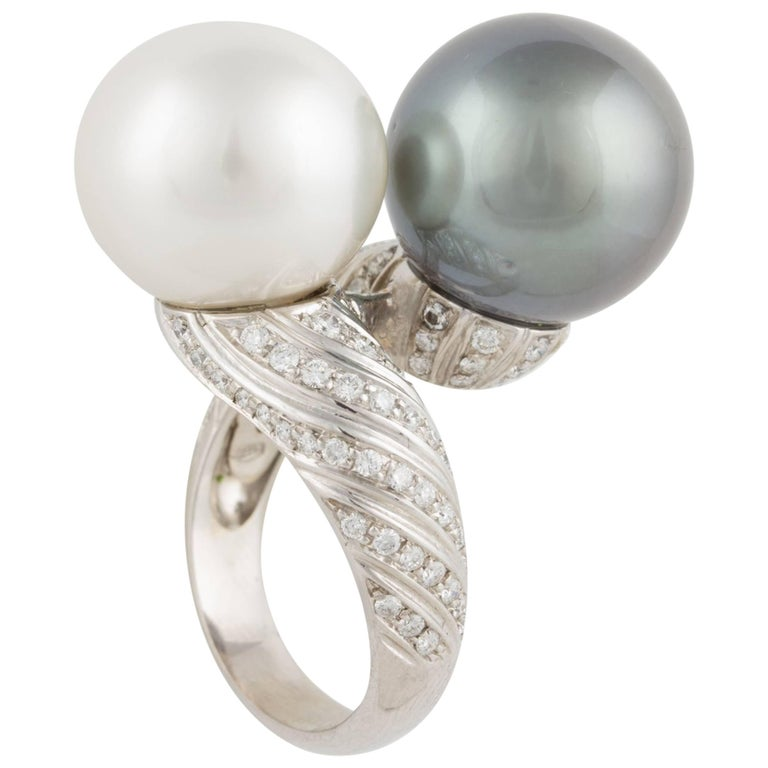 Ella Gafter South Sea Pearl and Tahitian Pearl Diamond Crossover White Gold Ring