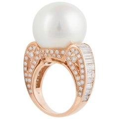 Ella Gafter South Sea Pearl Diamond Rose Gold Cocktail Ring
