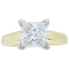 Certified Princess Cut Solitaire Diamond Engagement Ring