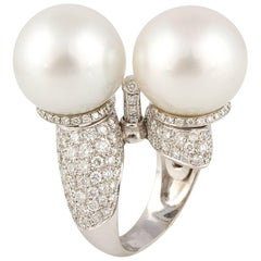 Ella Gafter Twin South Sea Pearl and Diamond White Gold Ring