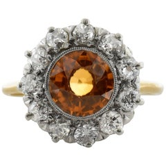 1.82 Carat Zircon Diamond Gold Cluster Ring