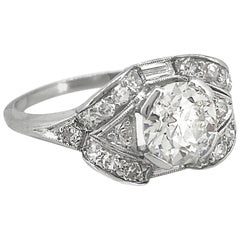 1.31 Carat Diamond Platinum Antique Engagement Ring Platinum