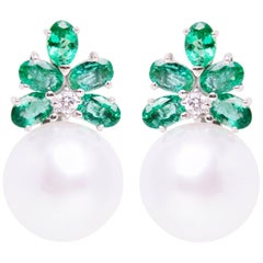 Emerald South Sea Pearl and Diamond White Gold Flower Earrings