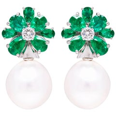 Ella Gafter Emerald Earrings with South Sea Pearl and Diamonds Flower Design