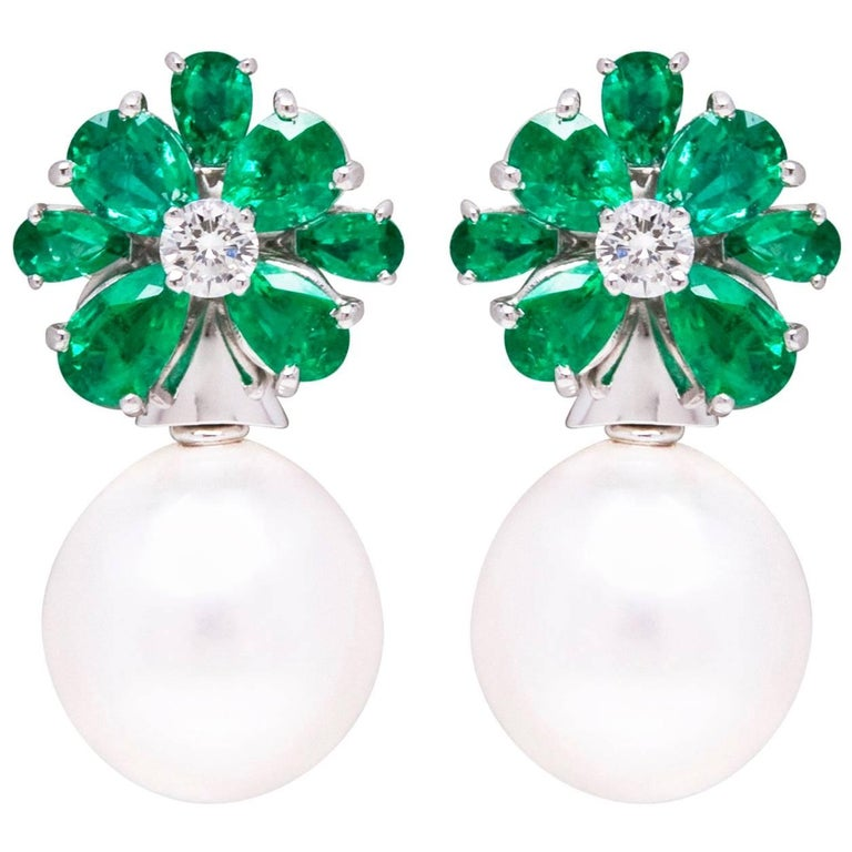 Emerald South Sea Pearl and Diamond White Gold Flower Clip-on Earrings